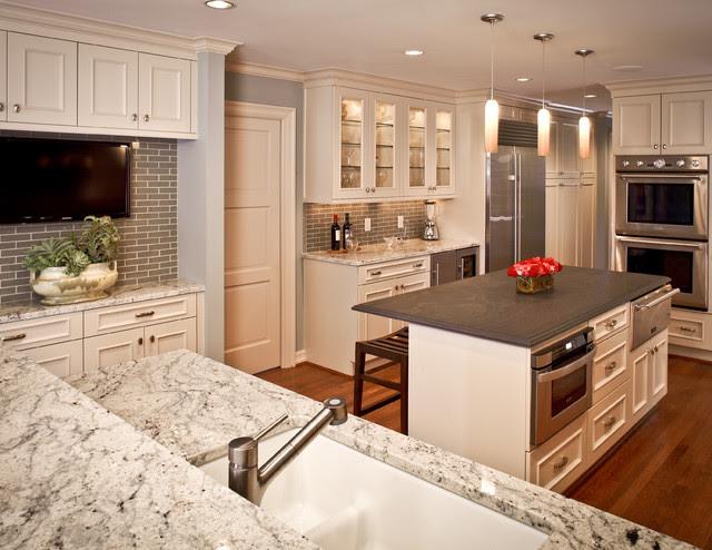 River Oaks White Kitchen Traditional Kitchen houston