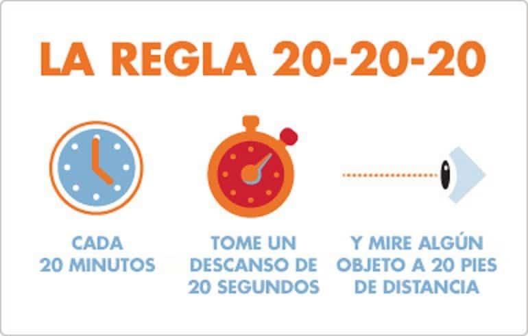 Resultado de imagen para Regla 20-20-20
