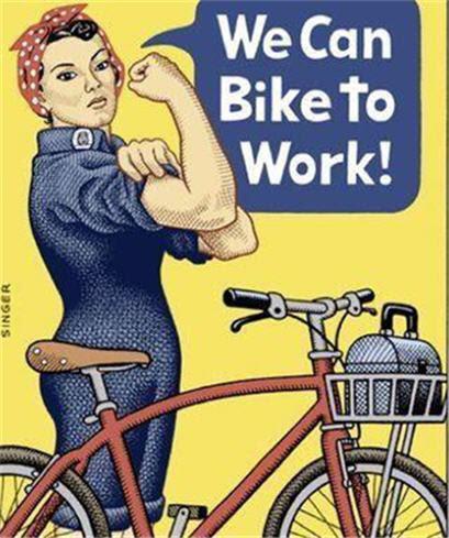 woman bikke to work - andy singer-larger