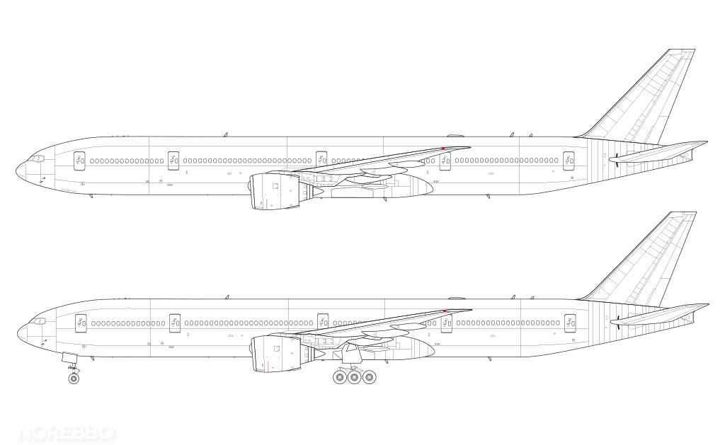 Boeing 777-300 blank illustration templates – Norebbo