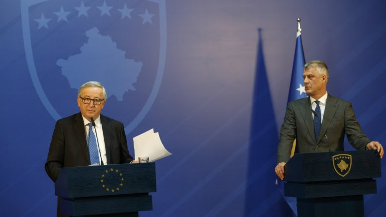 President of the European Commission Jean-Claude Juncker (L) and President of the Republic of Kosovo Hashim Thaci (R) hold hold a joined press conference following their meeting in Pristina, Kosovo, 28 February 2018. EPA, VALDRIN XHEMAJ