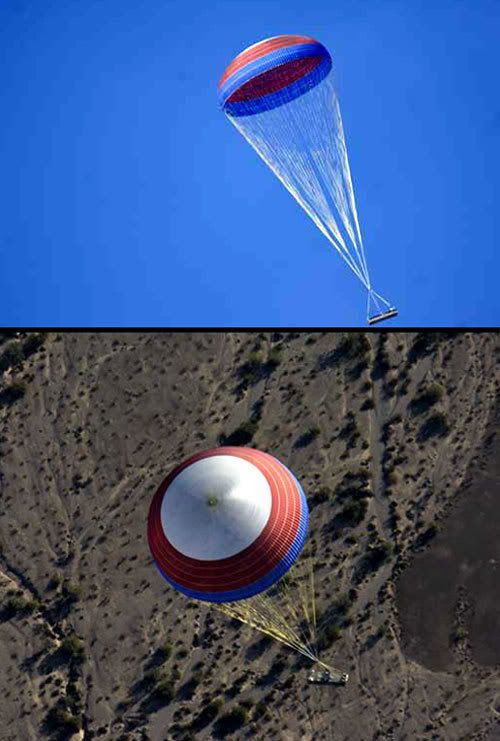 The main parachute for Constellation Program rockets is tested Nov. 15 over the U.S. Army's Yuma Proving Ground near Yuma, Ariz. Measuring 150-feet in diameter and weighing 2,000 pounds, the parachute is the largest of its kind that's been tested.