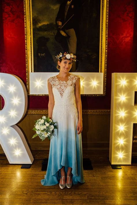 Blue Dip dye boho style wedding dress 'Lola' by Lucy Can't