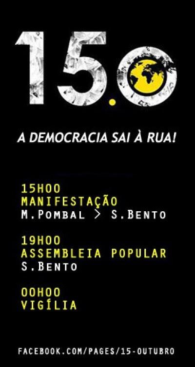 Protesto internacional: Democracia sai à rua! a 15 de Outubro