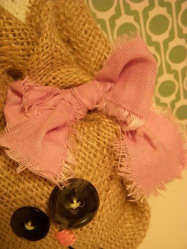 Fabric Bow on burlap bunny