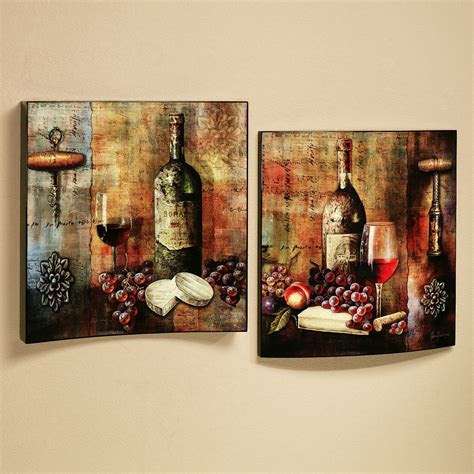 vineyard wine tasting wall art set multi jewel set