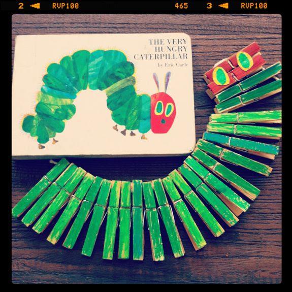 Eric Carle caterpillar clothespin craft for kids