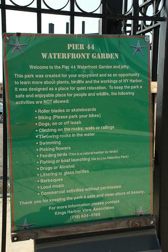 Sign, Pier 44 Waterfront Garden