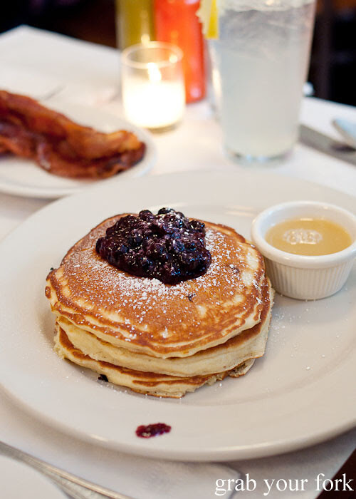 pancakes with maine blueberries and warm maple butter at clinton street baking company new york nyc lower east side