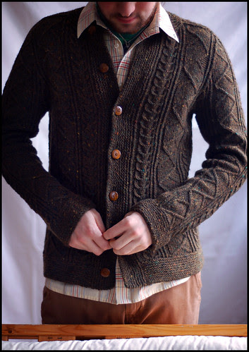 Saddle Shoulder Aran Cardigan 4