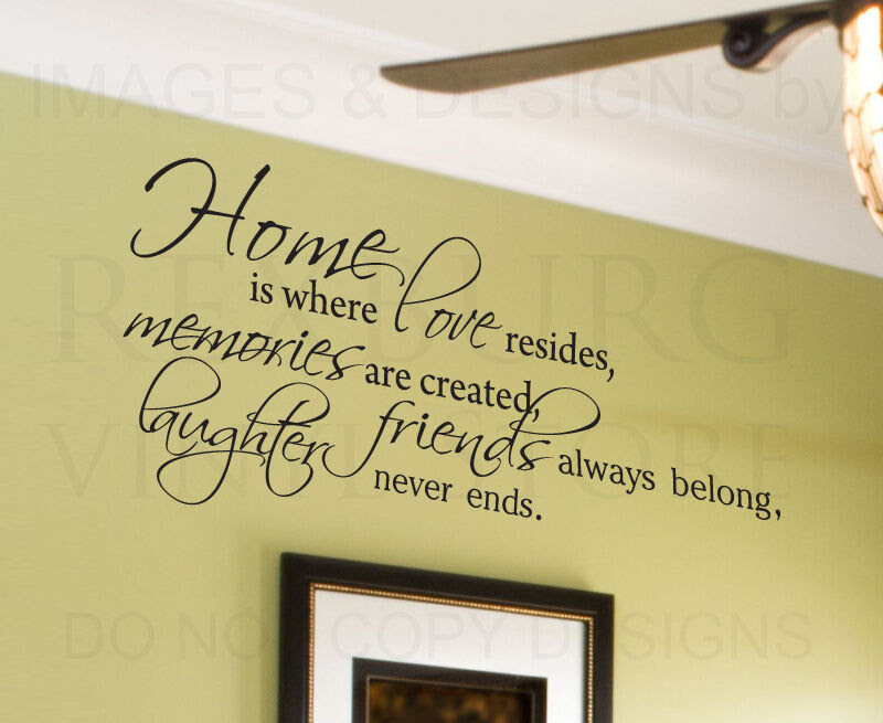 Wall Decal Quote Sticker Vinyl Lettering Home is Where Love Resides Family F65  eBay