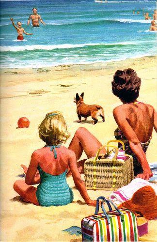 vintage summer scene