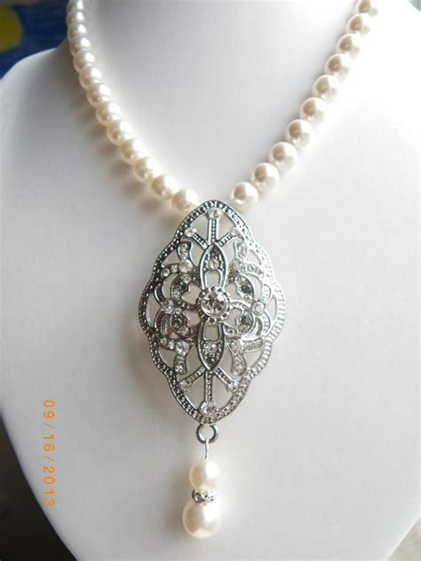 Handmade Crystal Pearl Bridal Necklace Victorian Wedding