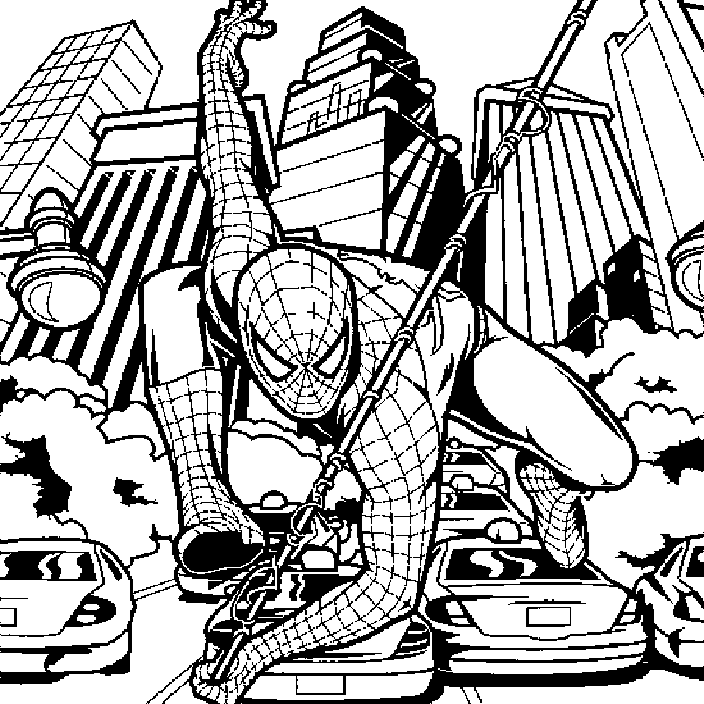 Full Page Spiderman Coloring Pages For Kids Drawing With Crayons
