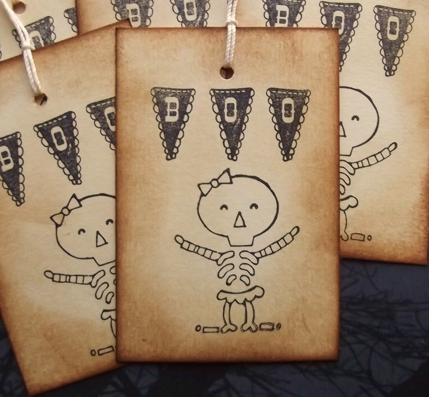Skeleton Boo Bunting Gift Tags - Vintage Inspired, Black, Brown, Cream