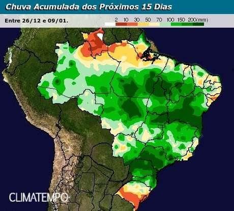 Chuva se espalha pelo Brasil, segundo Climatempo