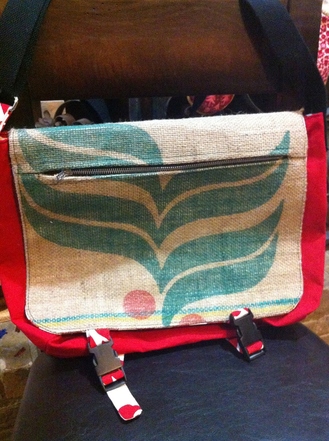 Upcycled Red Chevron and Floral Messenger Bag - Made using recycled coffee sack