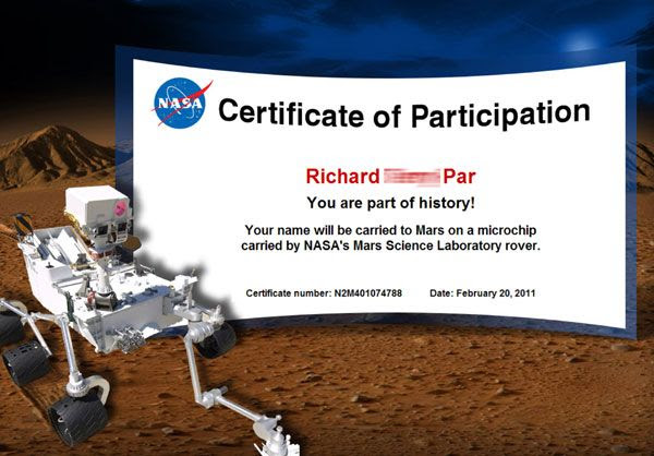 My participation certificate for the Mars Science Laboratory mission.