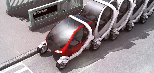 Artist's impression of MIT folding car in a supermarket trolley stack