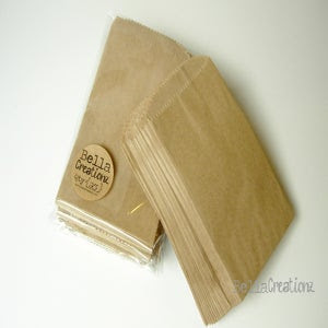 Image of 25 X-Small Brown Kraft Bags - PRINTABLE BAGS - Candy Buffet Bags