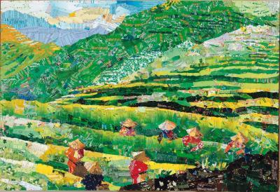 《茶鄉茶香》。描繪的是中國大陸安溪茶鄉的風景。