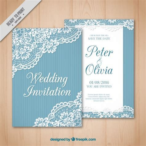 Vintage wedding card with lace detail Vector   Free Download