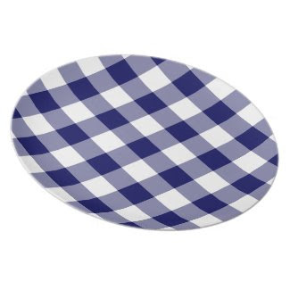 Navy and White Gingham Pattern plate