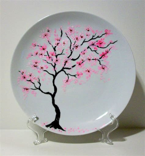 Handpainted Wedding Plate Cherry Blossoms Free