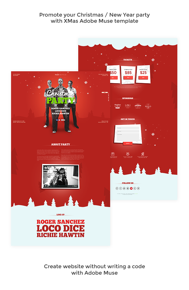 adobe muse mobile templates - xmas christmas new year party muse template