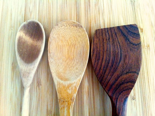Comparison of Wood Utensils Closeup