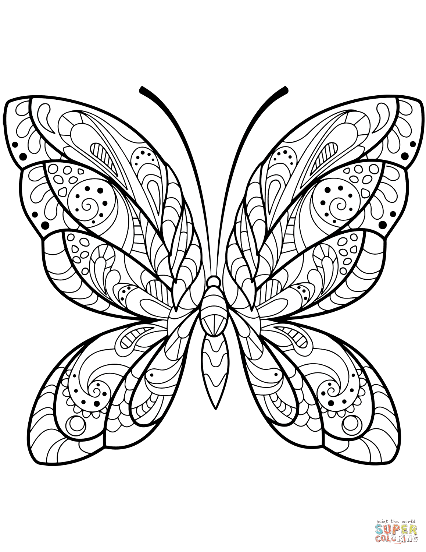 Dibujo De Zentangle De Mariposa Detallada Para Colorear Dibujos