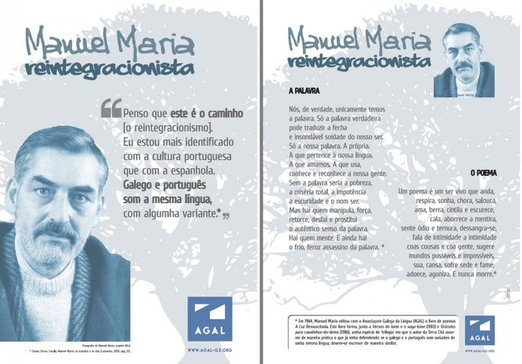 Carteis da AGAL no que defenden o perfil reintegracionista de Manuel María