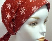 Soft Red Flannel Snow Flakes Cancer Scarf Chemo Hat Hair Loss Head Wrap Turban Cotton Alopecia Fitted Padded