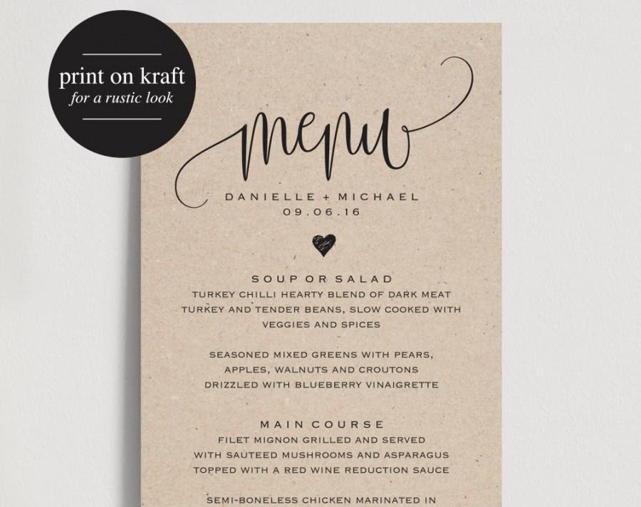 Wedding Menu Printable Formal Menu Printable Wedding Menu  Menu Cards Printable Menu