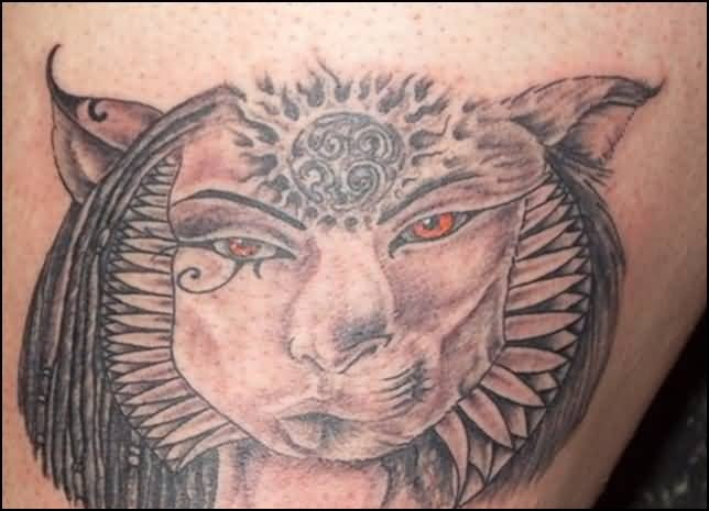 Angry Red Eye Egyptian Cat Tattoo Design