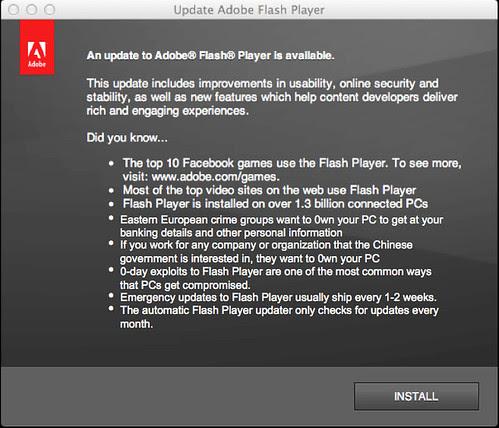 Adobe Flash Install Screen