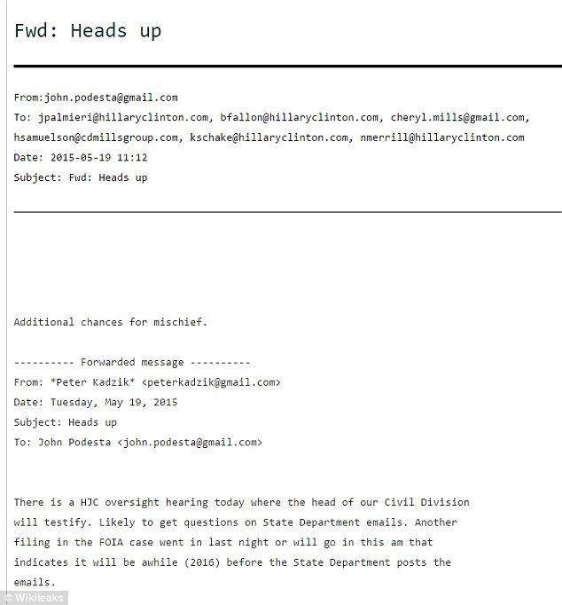This email from Peter Kadzik to John Podesta started a new WikiLeaks firestorm, and Trump wasted no time in weighing in