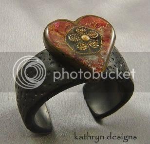 Flower Heart Polymer Cuff