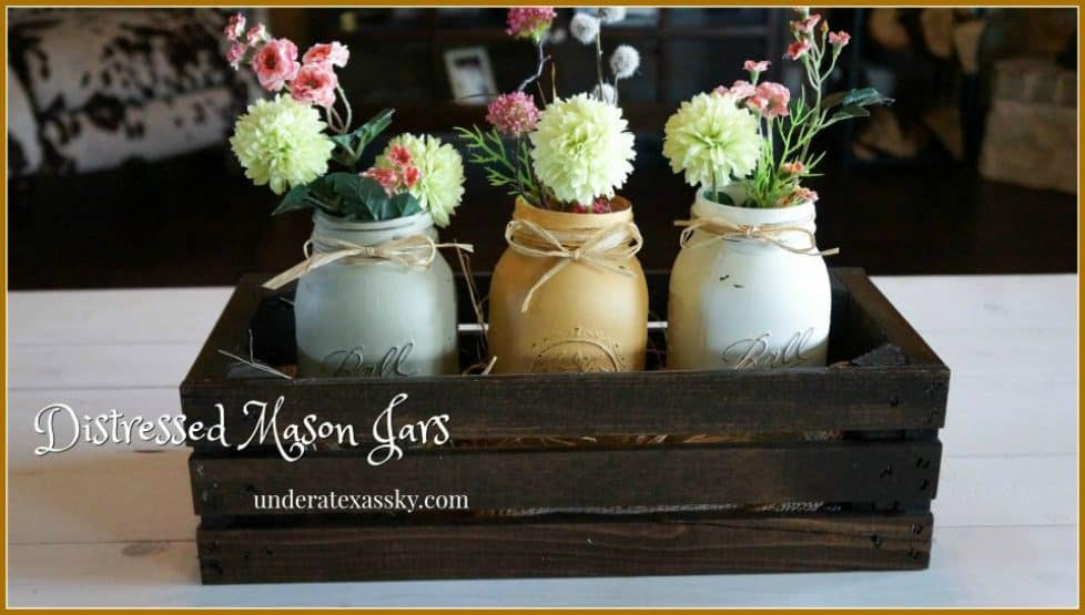 Fall Colors Painted Distressed Mason Jars
