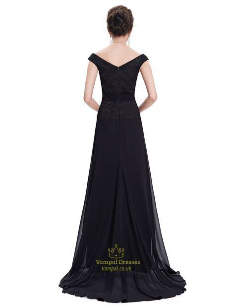 Black Chiffon Long Bridesmaid Dresses With Beaded Lace