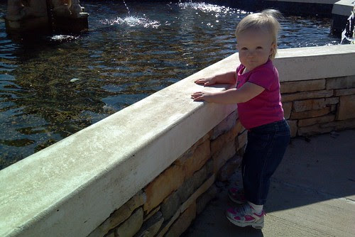 baby at fountain