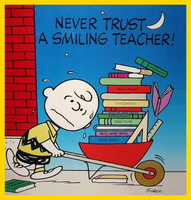 Never Trust A Smiling Teacher Peanuts Charlie Brown Books Poster