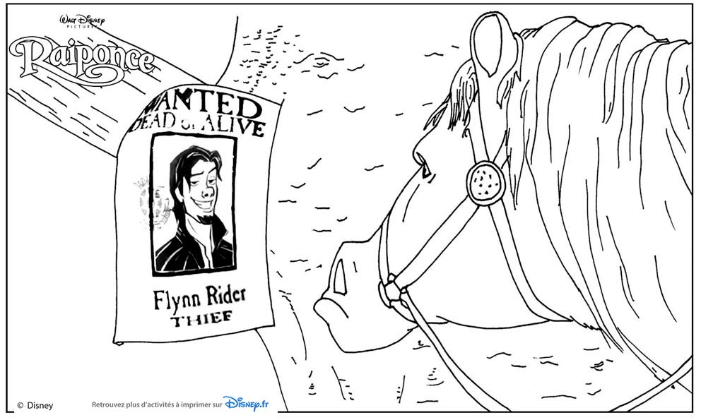 Coloriage Raiponce Wanted Flynn Rider Et Maximus Coloriages Rapunzel