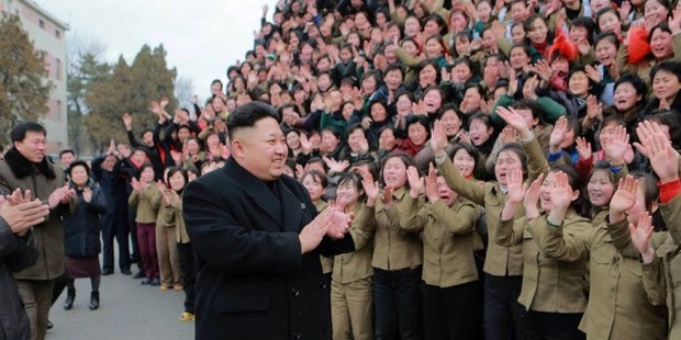 A crowd greets North Korean leader Kim Jong-Un. Photo / AP