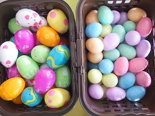 Plastic Easter eggs in baskets awaiting Easter egg hunt