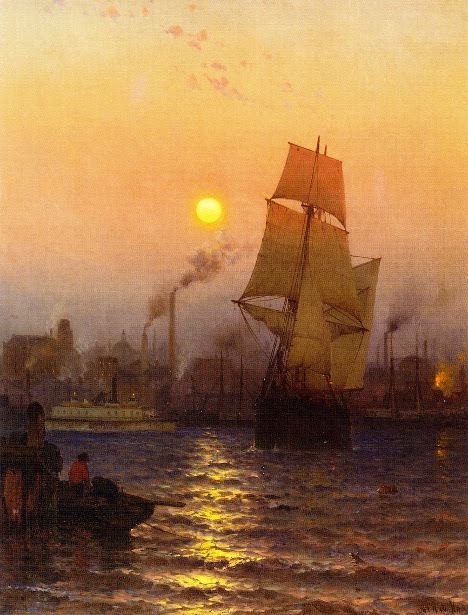 Shipping In Harbor By Moonlight