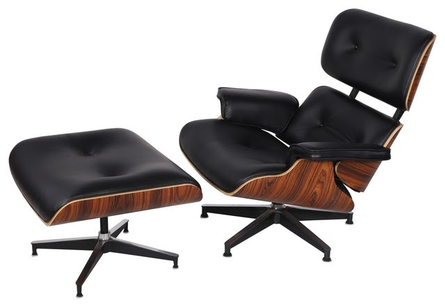 Eaze Lounge Chair and Ottoman, Black Leather/Palisander ...