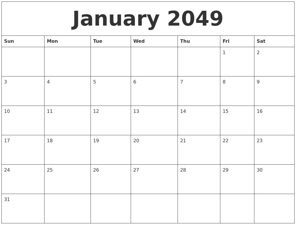 january 2049 calendar free printable