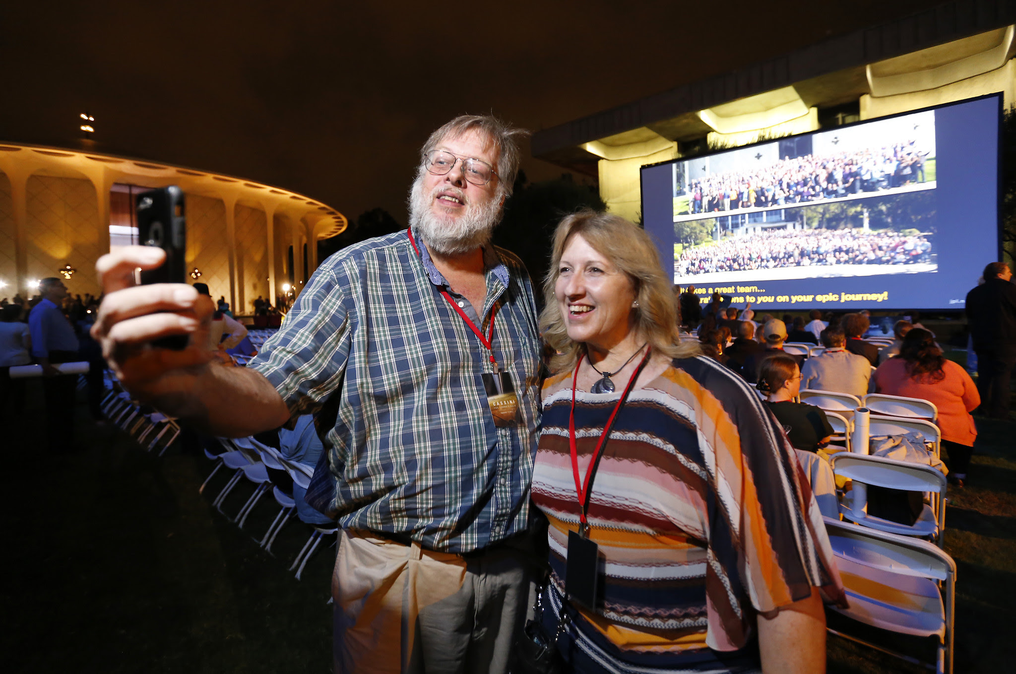 Ken Clark and his wife, Dotty, take a celebratory selfie at Caltech, where people involved in JPL's Cassini mission    celebrated.
