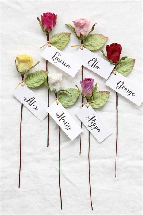 Personalised Wedding Favour   Paper Rose Name Place